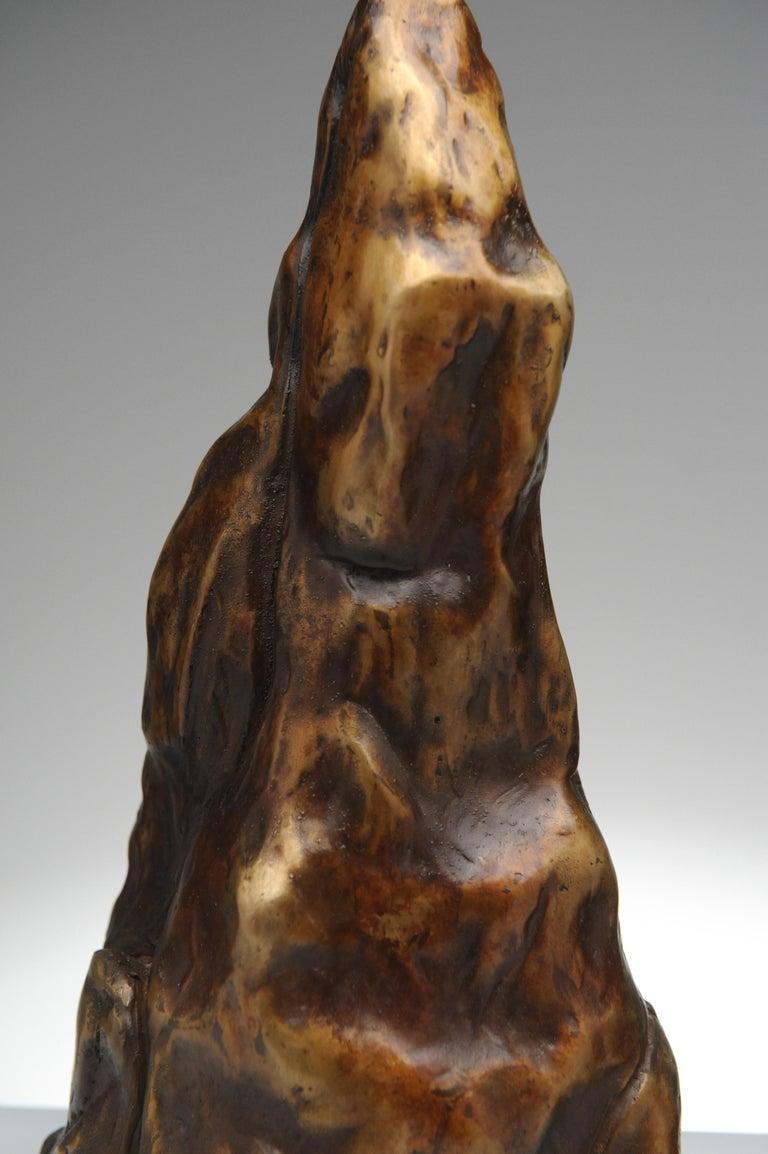 Organic Modern Vintage Pair of Brutalist Bronze Sculptural Table Lamps For Sale