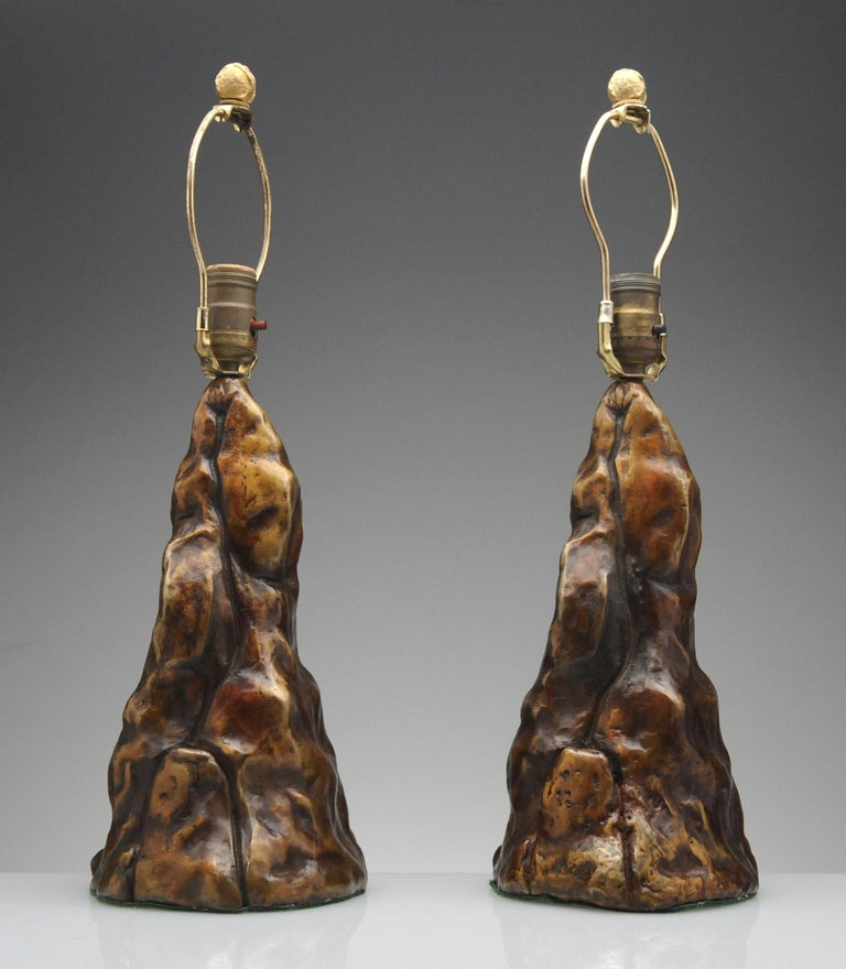 Vintage Pair of Brutalist Bronze Sculptural Table Lamps In Good Condition For Sale In Washington, DC