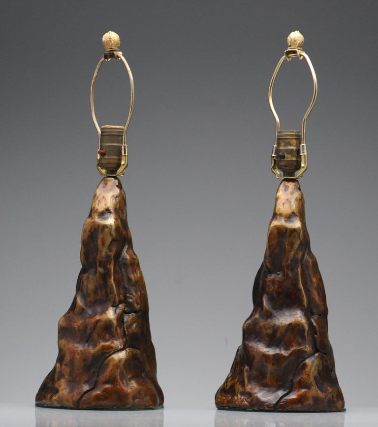 Mid-20th Century Vintage Pair of Brutalist Bronze Sculptural Table Lamps For Sale
