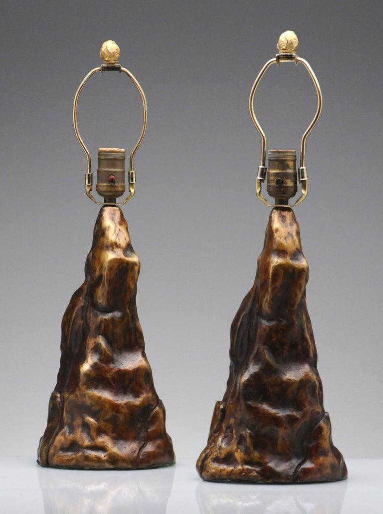 Vintage Pair of Brutalist Bronze Sculptural Table Lamps For Sale 1
