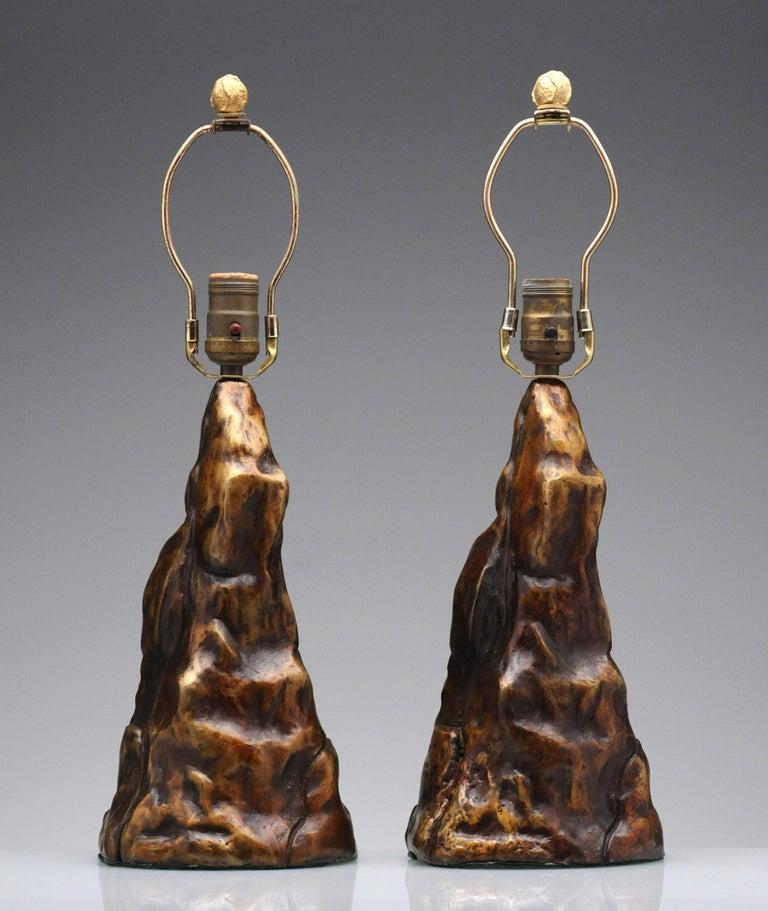 Vintage Pair of Brutalist Bronze Sculptural Table Lamps For Sale 2
