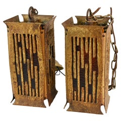 Pair of Brutalist Cast Brass Hanging Hall or Porch Lanterns