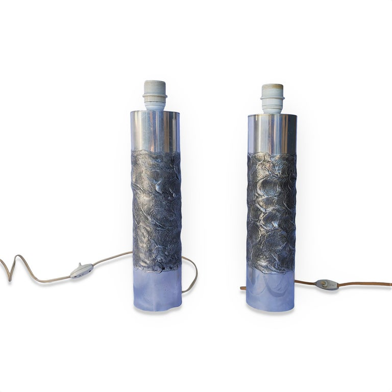 Pair of Brutalist Cast Stainless Steel Table Lamps by Willy Luyckx - Belgium 197 For Sale 2