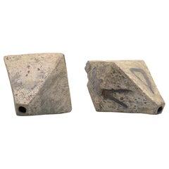 Pair of Brutalist Ceramic Octahedron Sculptures