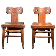 Pair of Brutalist Chairs, France, circa 1960
