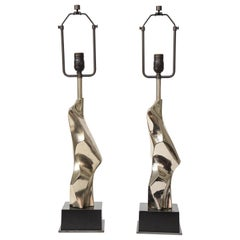 Pair of Brutalist Chrome Table Lamps by Richard Barr for Laurel, c. 1960s