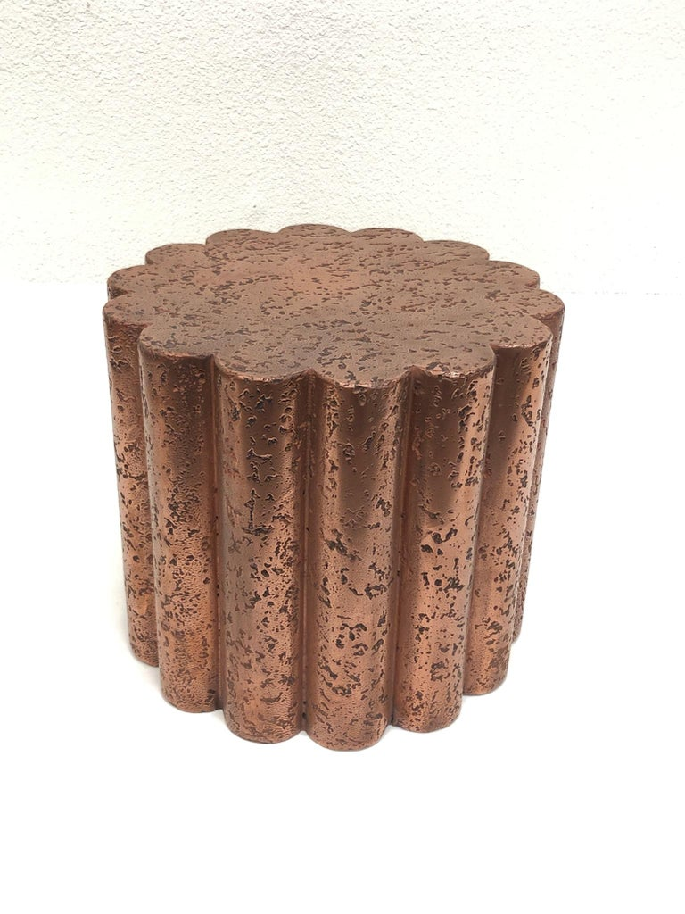American Pair of Brutalist Copper Flower Shape Side Tables by Steve Chase