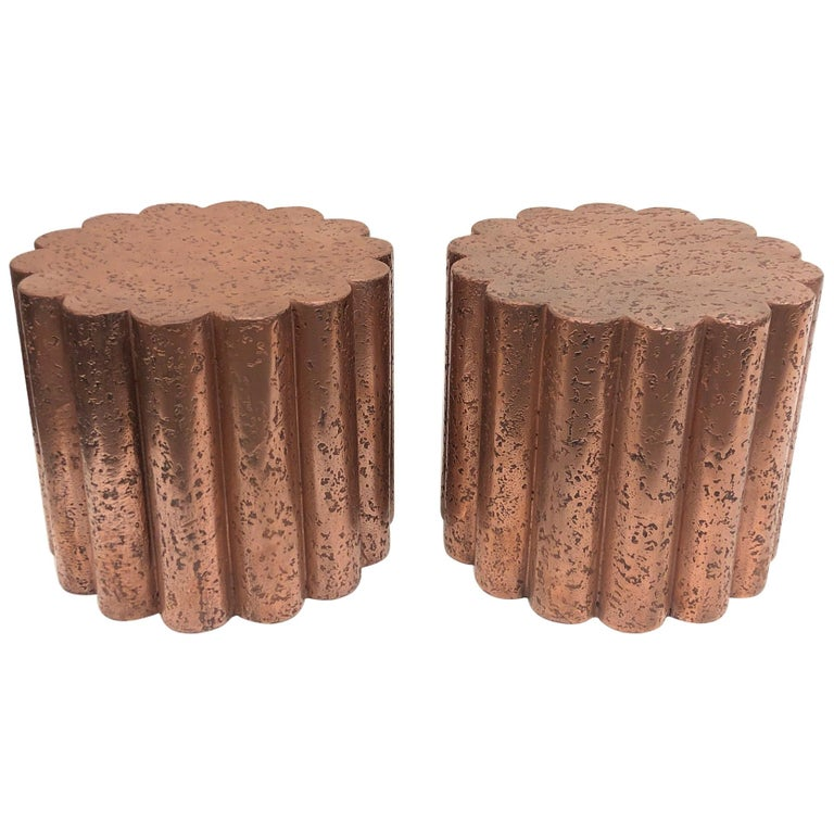 Pair of Brutalist Copper Flower Shape Side Tables by Steve Chase