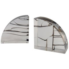 Pair of Brutalist Encased Steel Ribbon Lucite Bookends Attributed to Astrolite