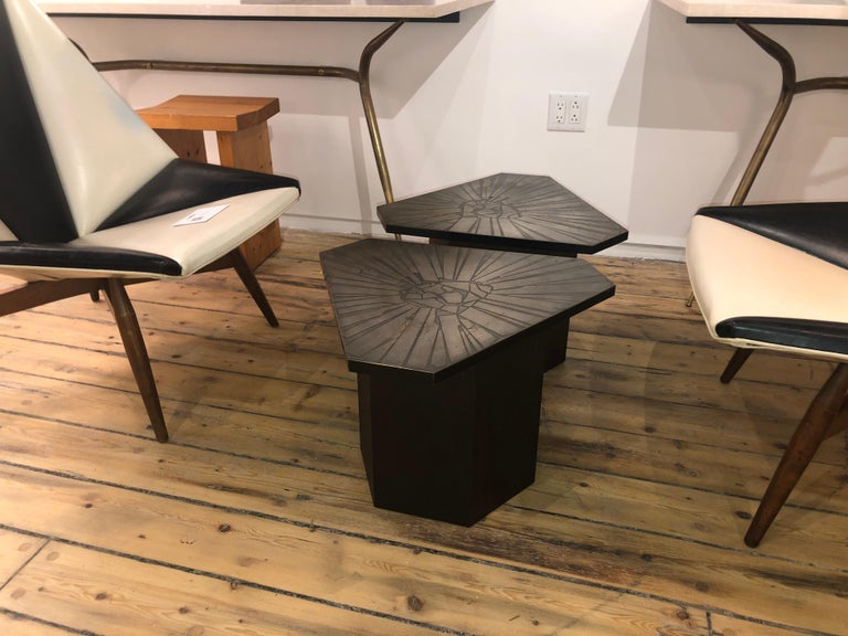 Walnut based end tables with etched brass top. Hexagone base with truncated triangular tops American, 1960s.