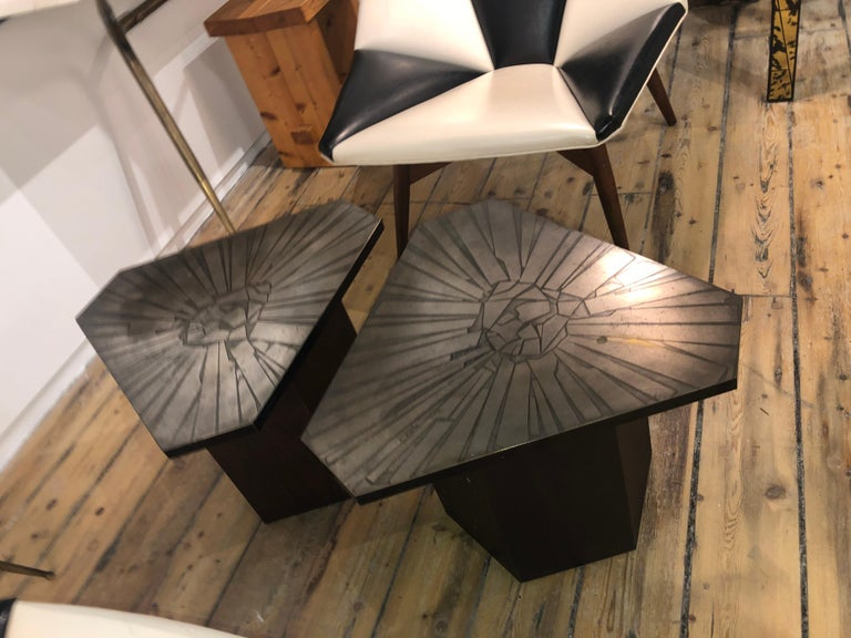 American Pair of Brutalist End Tables For Sale