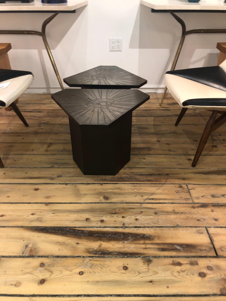 Etched Pair of Brutalist End Tables For Sale