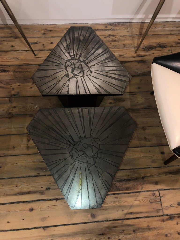 Pair of Brutalist End Tables In Good Condition For Sale In New York, NY