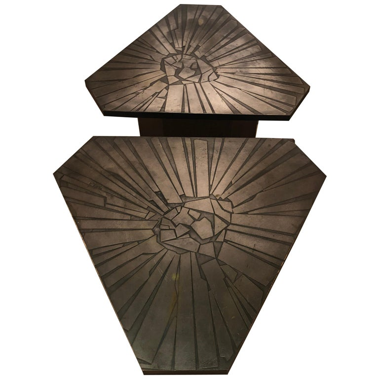 Pair of Brutalist End Tables For Sale