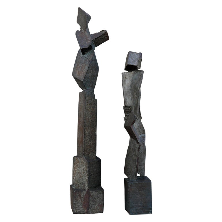 Pair of Brutalist Forged Iron Figural Abstract Sculptures For Sale