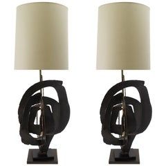 Pair of Brutalist Richard Barr Iron Table Lamps