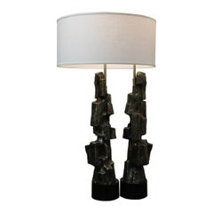 Pair of Brutalist Lamps by Richard Barr for Laurel Lamp Co.