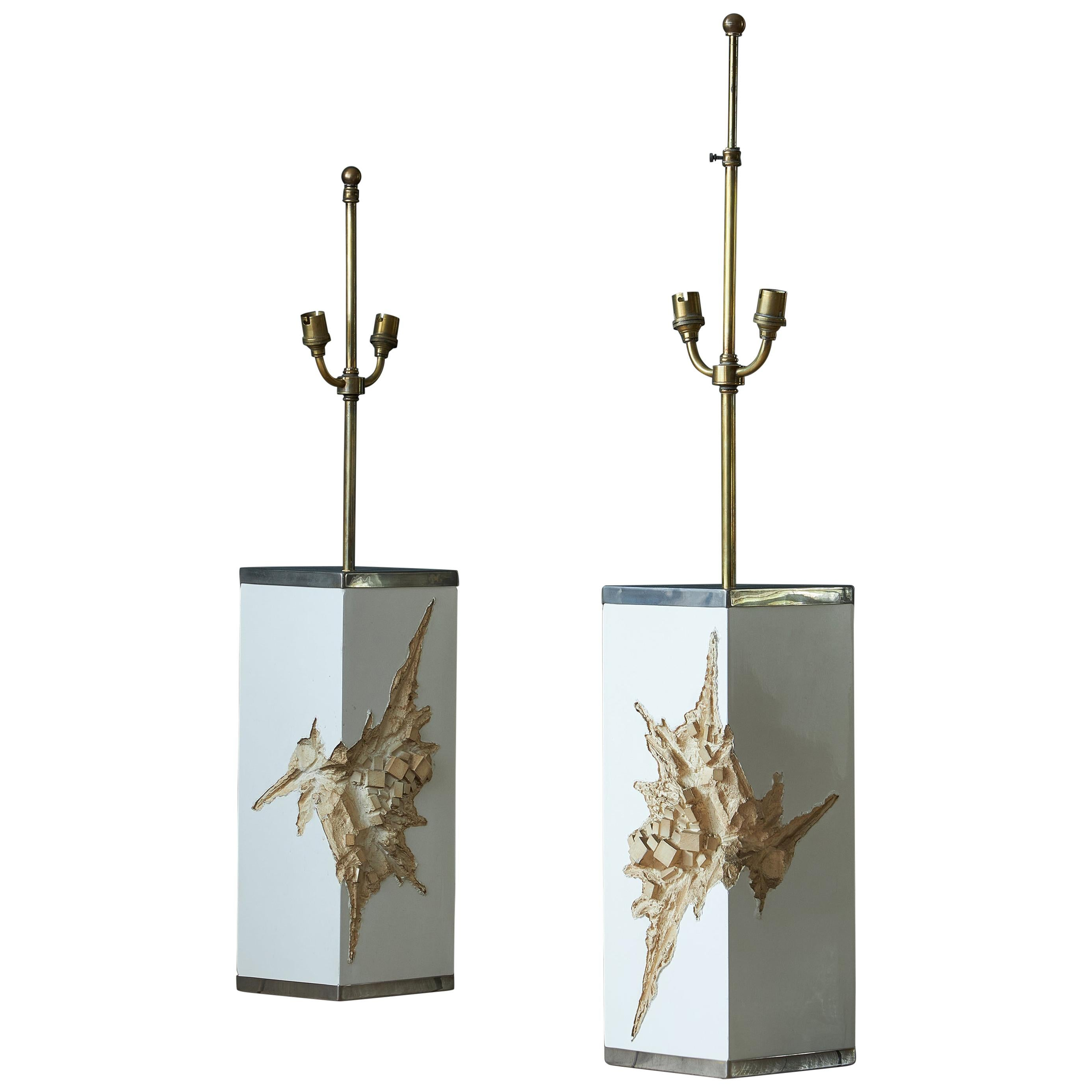 Pair of Brutalist Lamps