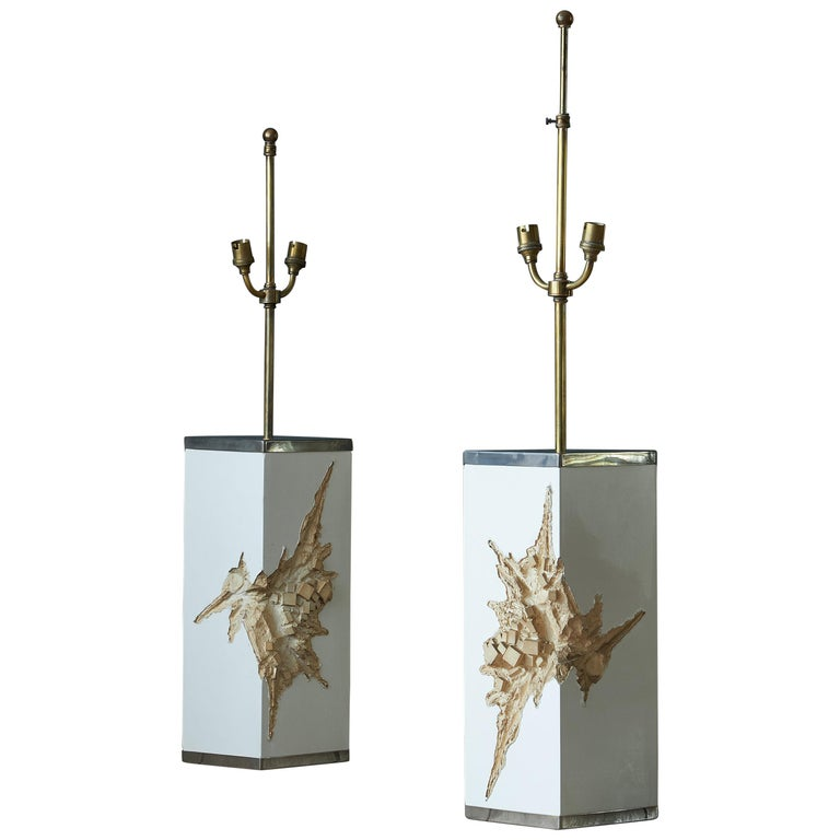 Pair of Brutalist Lamps For Sale