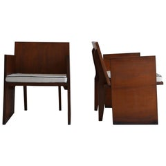 Pair of Brutalist Mahogany Chairs, Modernism