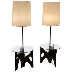 Pair of Brutalist Metal Floor Lamps with Table by Harry Balmer for Laurel