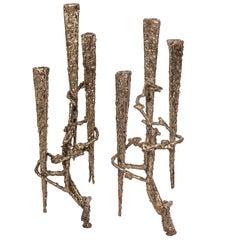 Pair of Brutalist Mid-Century Modern Candlesticks