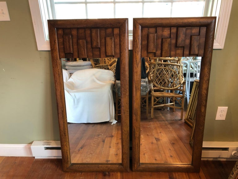 American Pair of Brutalist Mid-Century Modern Mirrors For Sale