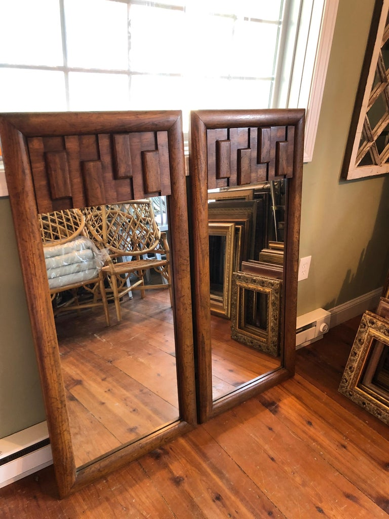 Pair of Brutalist Mid-Century Modern Mirrors In Good Condition For Sale In Redding, CT