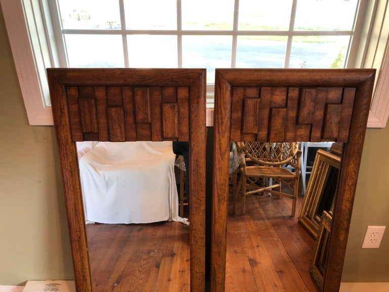 Late 20th Century Pair of Brutalist Mid-Century Modern Mirrors For Sale