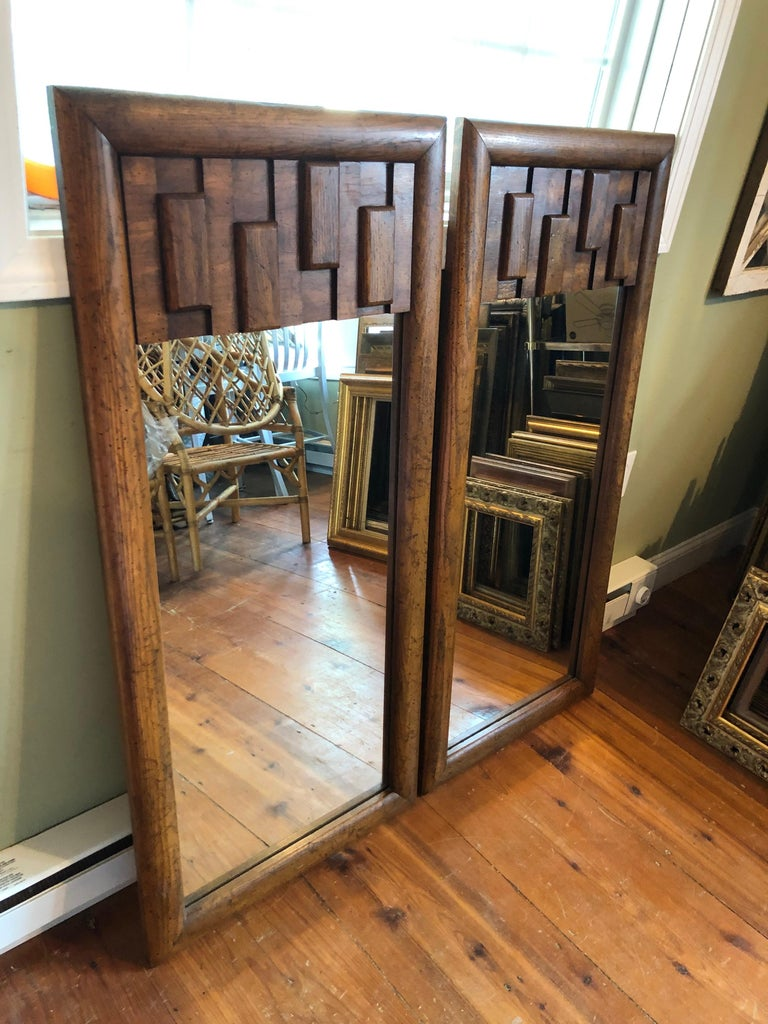 Pair of Brutalist Mid-Century Modern Mirrors For Sale 1