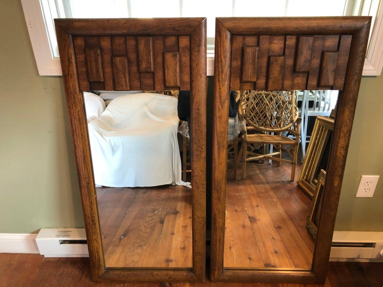 Pair of Brutalist Mid-Century Modern Mirrors For Sale 2