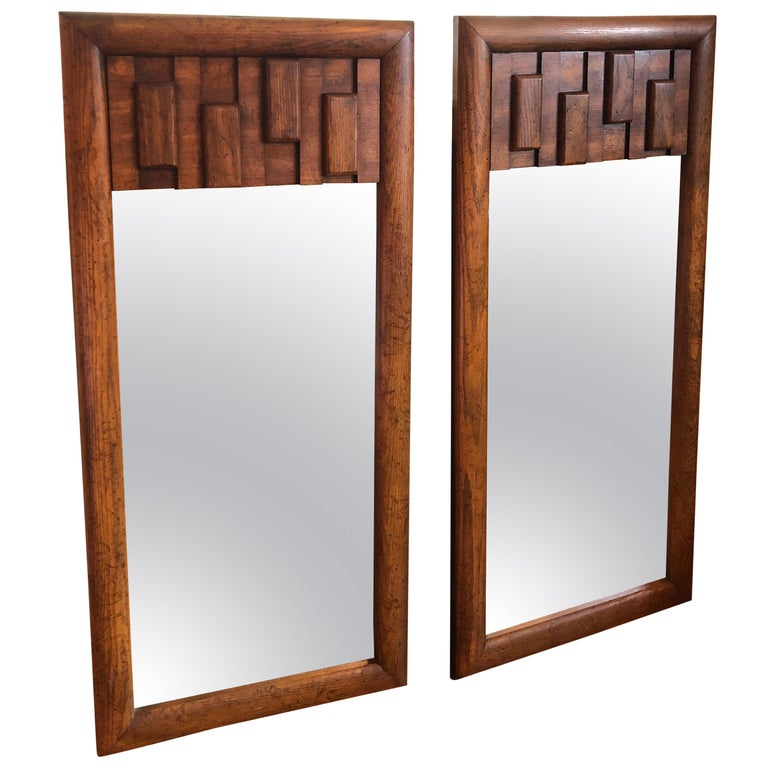 Pair of Brutalist Mid-Century Modern Mirrors For Sale