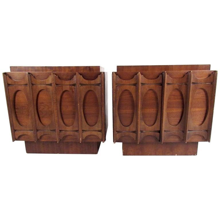 Pair of Brutalist Modern Walnut Nightstands For Sale