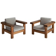 Pair of Brutalist Oak Armchairs