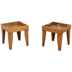 Pair of Brutalist Oak, Glass and Wicker End Tables, Britain, circa 1970