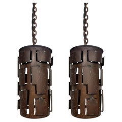 Pair of Brutalist Pendant Lights
