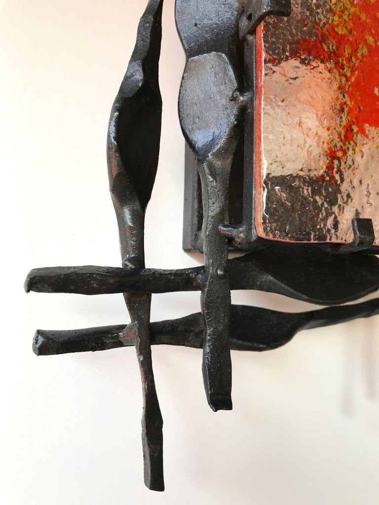 Swedish Pair of Brutalist Sconces Iron Murano Glass by Ahlstrom and Helrich, 1970s For Sale