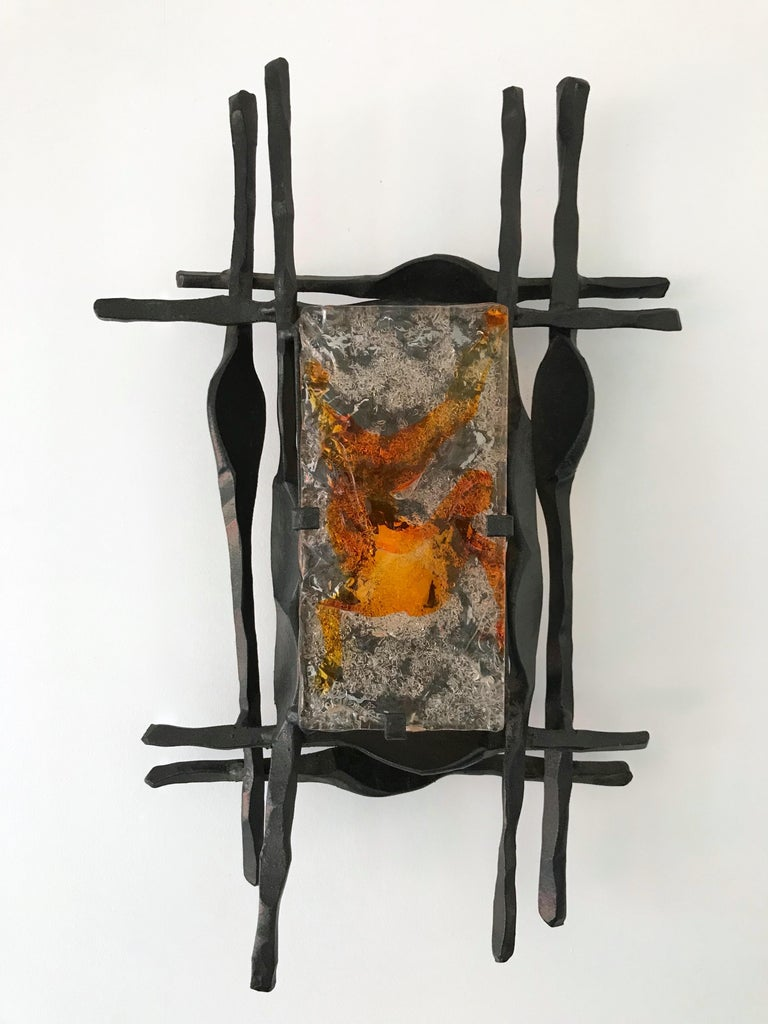Late 20th Century Pair of Brutalist Sconces Iron Murano Glass by Ahlstrom and Helrich, 1970s For Sale