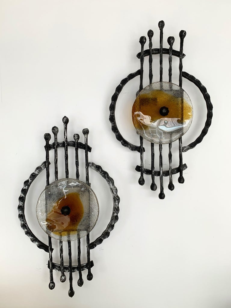 Pair of Brutalist Sconces Iron Murano Glass by Ahlstrom and Helrich, 1970s For Sale 1
