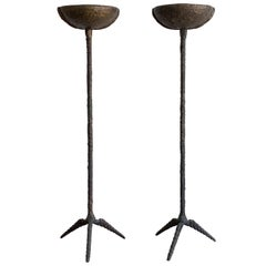 Pair of Brutalist Solid Bronze Torchère Floor Lamps