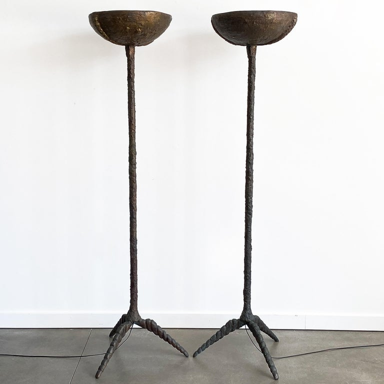 Unknown Pair of Brutalist Solid Bronze Torchère Floor Lamps For Sale