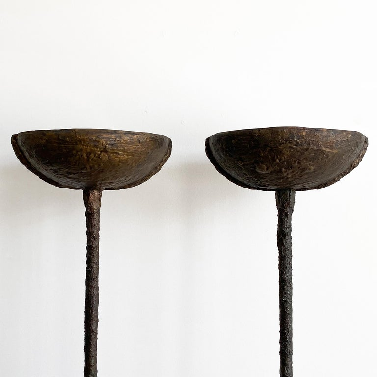 Patinated Pair of Brutalist Solid Bronze Torchère Floor Lamps For Sale