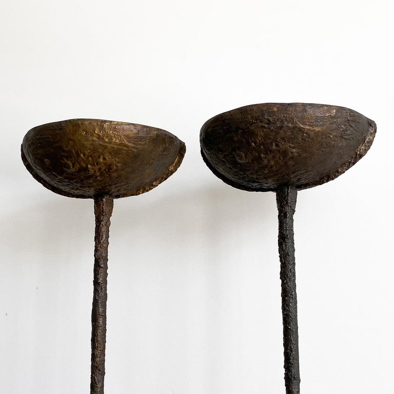 Pair of Brutalist Solid Bronze Torchère Floor Lamps In Good Condition For Sale In Chicago, IL