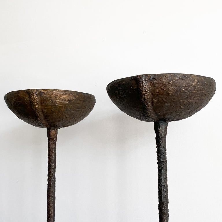 20th Century Pair of Brutalist Solid Bronze Torchère Floor Lamps For Sale