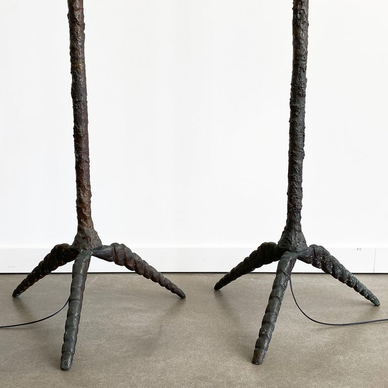 Pair of Brutalist Solid Bronze Torchère Floor Lamps For Sale 1