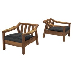 Pair of Brutalist Spanish Lounge Chairs in Solid Oak
