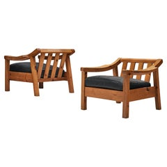 Pair of Brutalist Spanish Lounge Chairs in Solid Pine