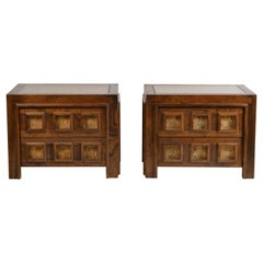 Pair of Brutalist Stained Oak and Cork Night Stands