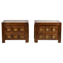 Pair of Brutalist Stained Oak and Cork Nightstands