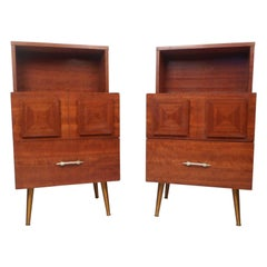 Pair of Brutalist Style Midcentury Nightstands